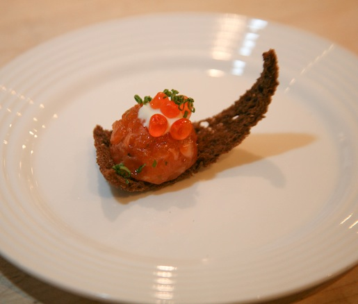 Truffled Salmon Tartare with Roe and Chive–Crème Fraîche Mousse